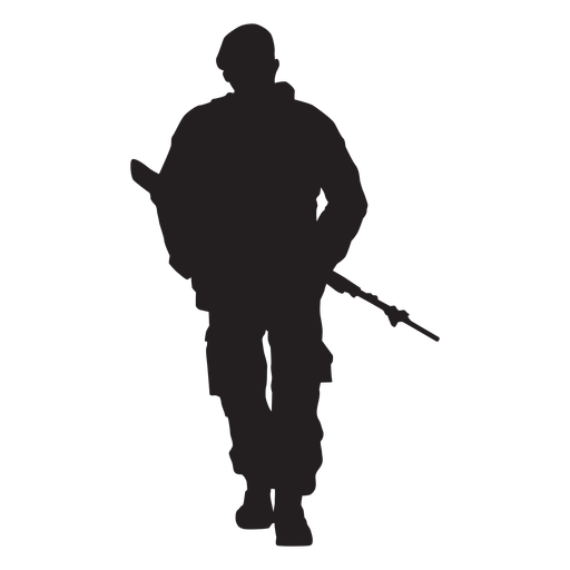 Frontal walking soldier with weapon silhouette