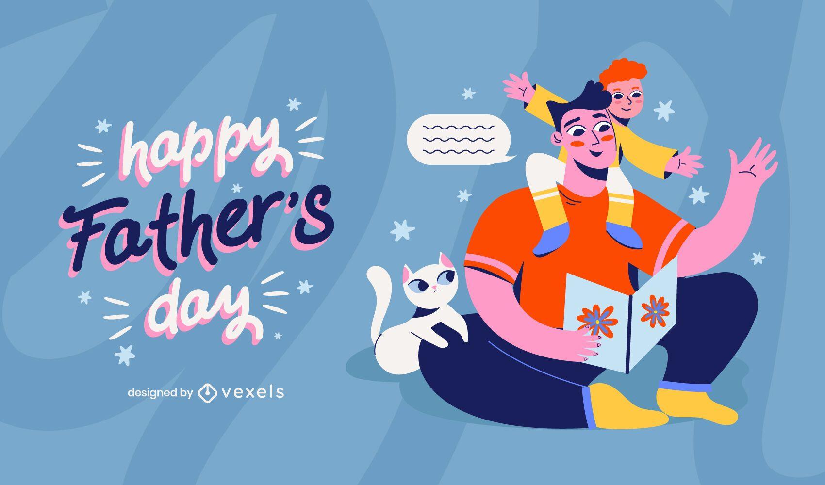 Ilustración de familia feliz día del padre