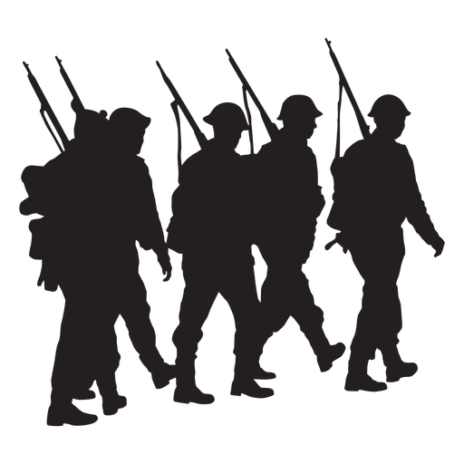 Group of soldiers walking silhouettes