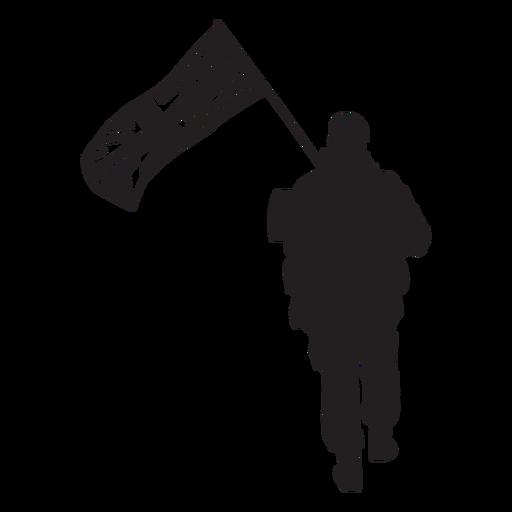 Walking british soldier from behind silhouette