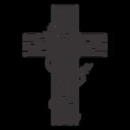 Cross rose decoration