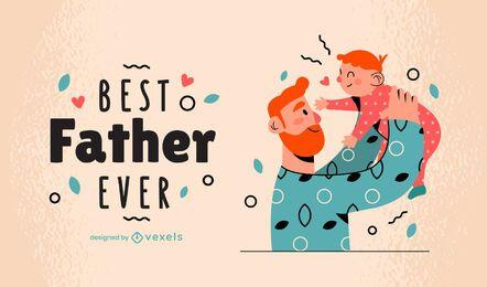Melhor pai de sempre ilustração familiar
