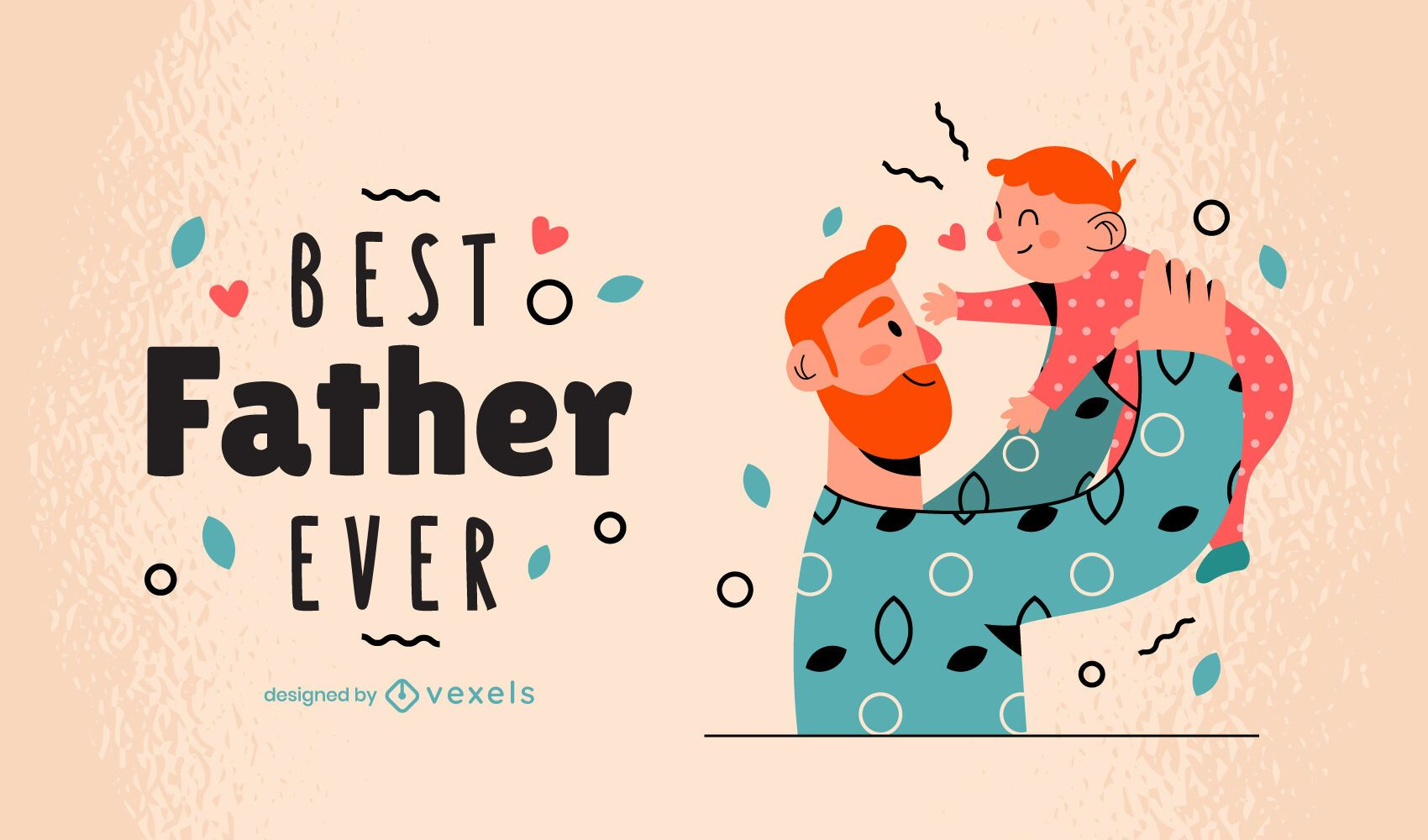 Best father ever family illustration