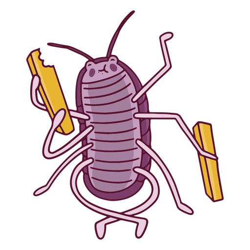 Happy cockroach eating fries
