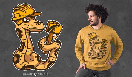 Diseño de camiseta de serpiente constructora