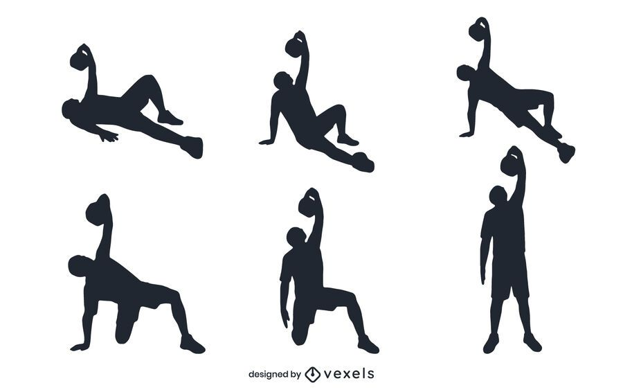 People working out silhouette set