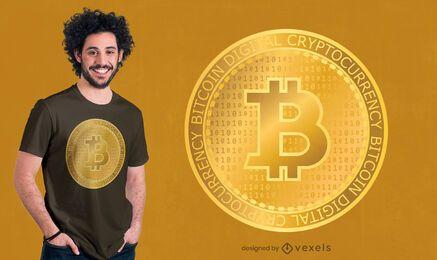 Diseño de camiseta dorada de bitcoin.