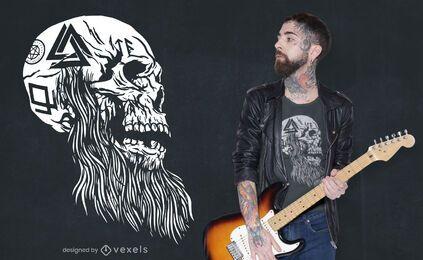 Diseño de camiseta de calavera tatuada vikinga