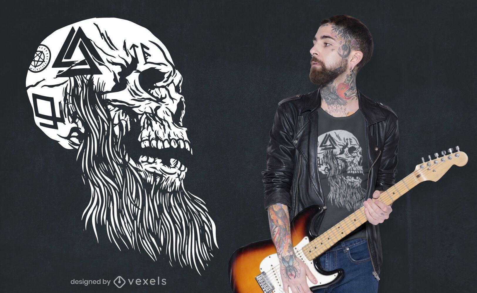 Viking tattooed skull t-shirt design