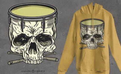 Diseño de camiseta de tambor de calavera
