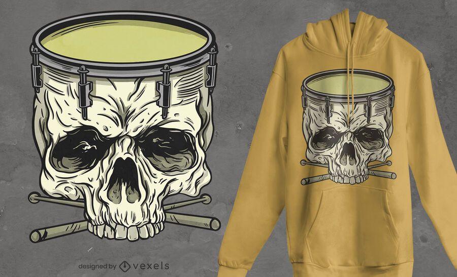 Skull drum t-shirt design