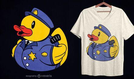 Design de t-shirt de pato de borracha da polícia