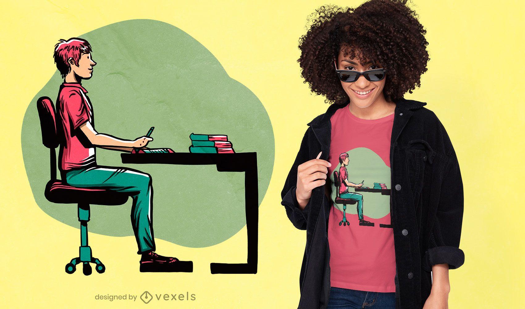 Guy studying t-shirt design