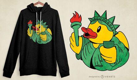 Design de t-shirt Liberty de borracha pato