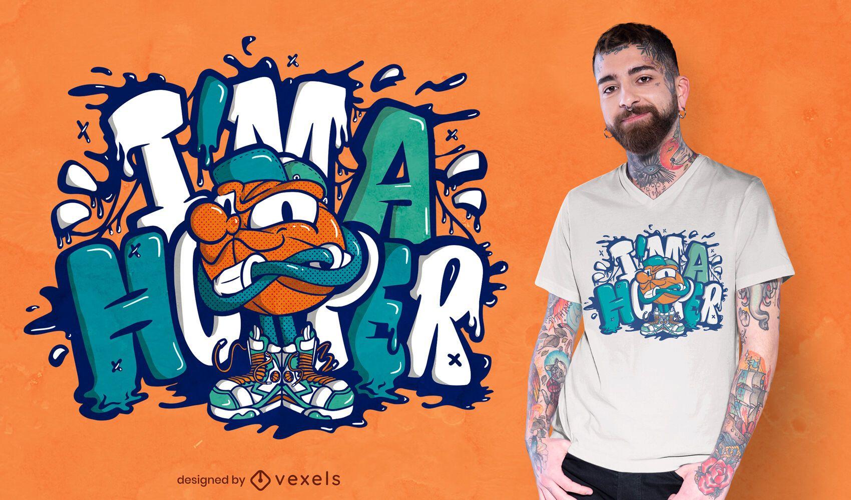 Dise?o de camiseta de graffiti de baloncesto.