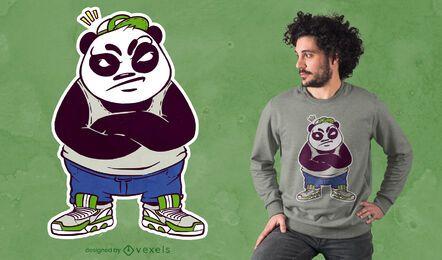 Diseño de camiseta de panda macho loco