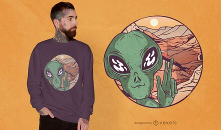 Diseño de camiseta marciana selfie