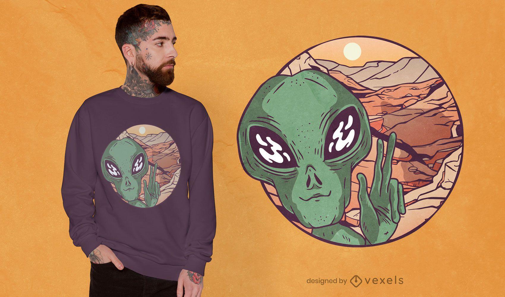 Martian selfie t-shirt design