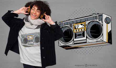 Diseño de camiseta de radio de los 80