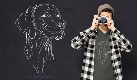 Diseño de camiseta de cara de perro de caza.