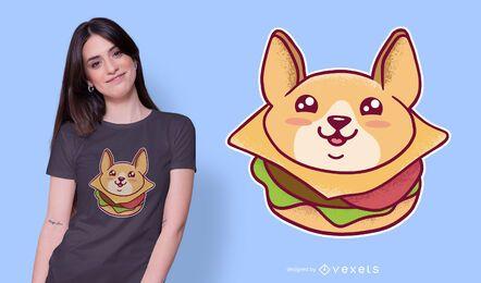 Diseño de camiseta kawaii corgi burger