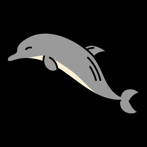 Cute flat sideways dolphin