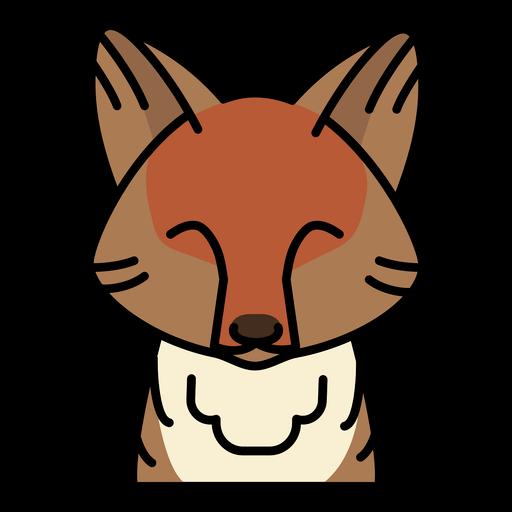 Frontal cute fox semi flat stroke