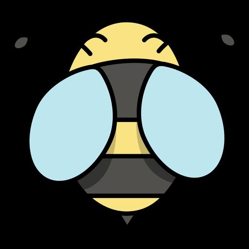 Cute semi flat stroke bee top view