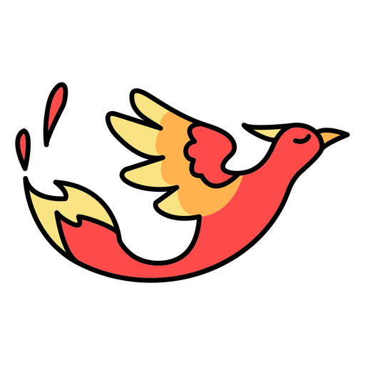 Flying profile phoenix bird color stroke