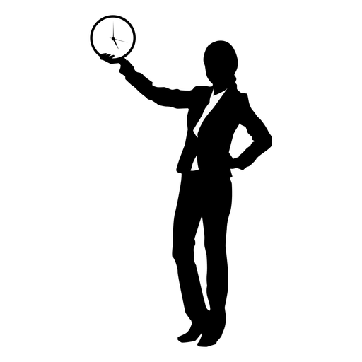 Business woman clock silhouette