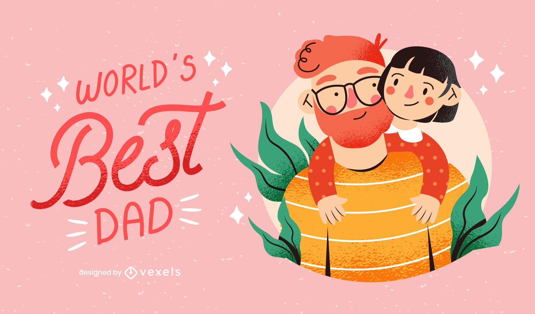 World's best dad family illustration