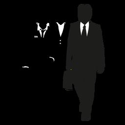 Business men walking silhouette