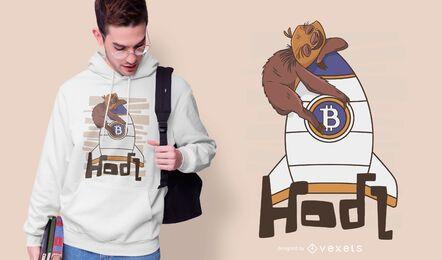 Diseño de camiseta de perezoso de Bitcoin