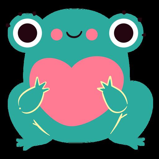 Personagem fofa de coração de sapo