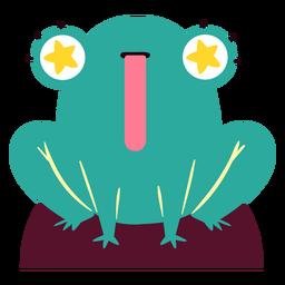 Carácter de ojos estrellados de rana