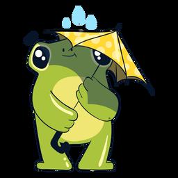 Frog under rain illustration
