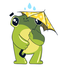 Ilustración de rana bajo la lluvia