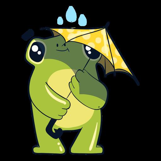 Ilustraci?n de rana bajo la lluvia