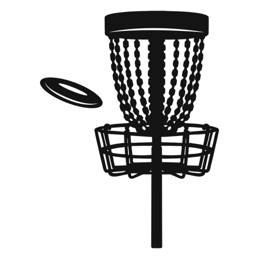 Disc golf basket with frisbee silhouette
