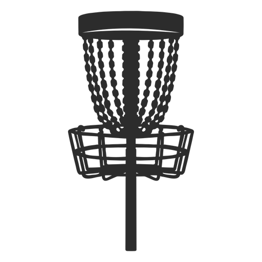 Disc golf frisbee basket silhouette