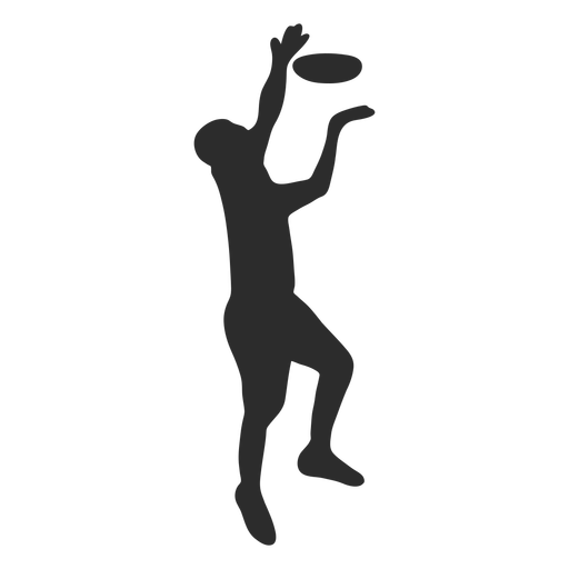 Man jumping catching frisbee silhouette