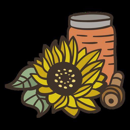 Sunflower oil jar semi flat