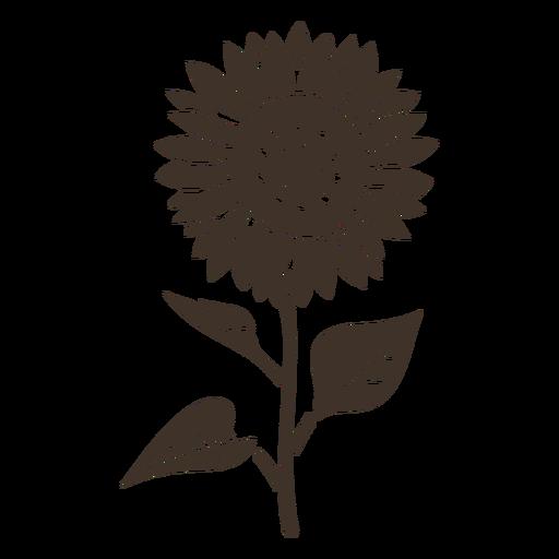 Hand drawn sunflower silhouette