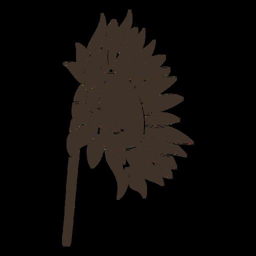 Hand drawn sunflower sideways silhouette