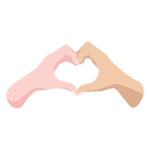Semi flat hands heart sign