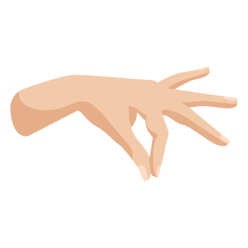 Joining thumb and index fingers semi flat hand sign