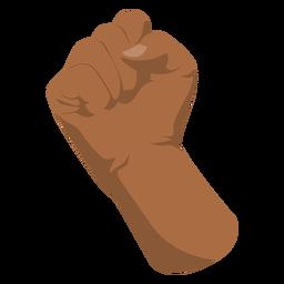 Afro raised fist semi flat hand sign
