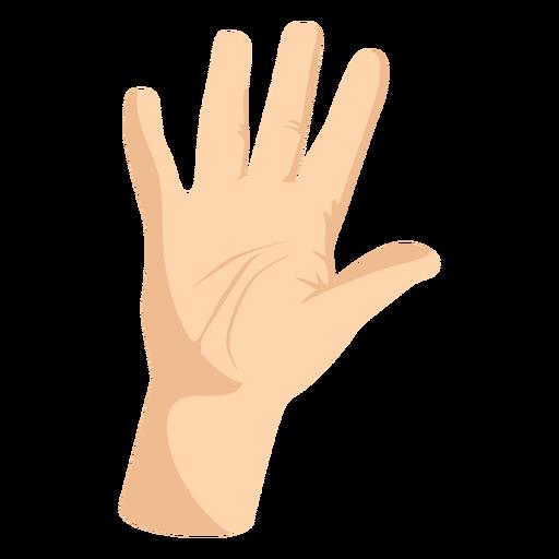 Raised open hand semi flat hand sign
