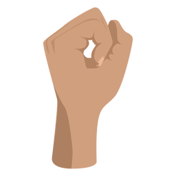 Fist making circle semi flat sign