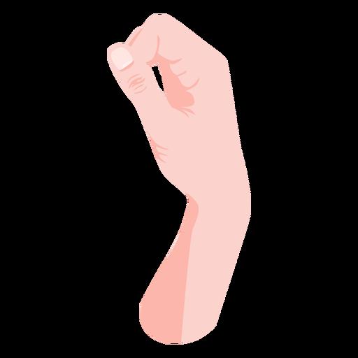 Fingers joining thumb semi flat hand sign